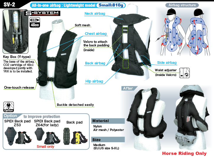 Light Airbag Vest SV2 - HORSE RIDING