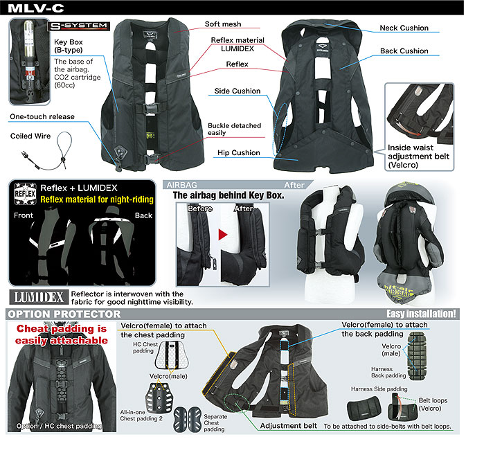 Light Airbag Vest MLV-C - HORSE & MOTORCYCLE